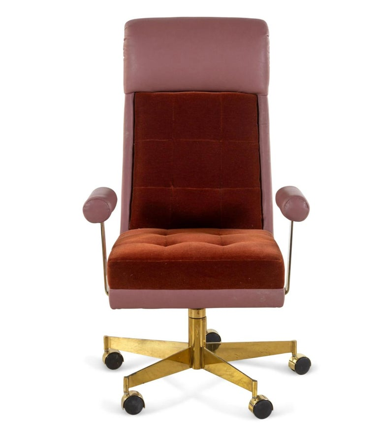 This gorgeous leather, mohair and brass executive desk chair by Vladimir Kagan for Vladimir Kagan Designs, Inc is a rare authentic signed example with its original label underneath the chair seat, designed in the 1970s and this example crafted in