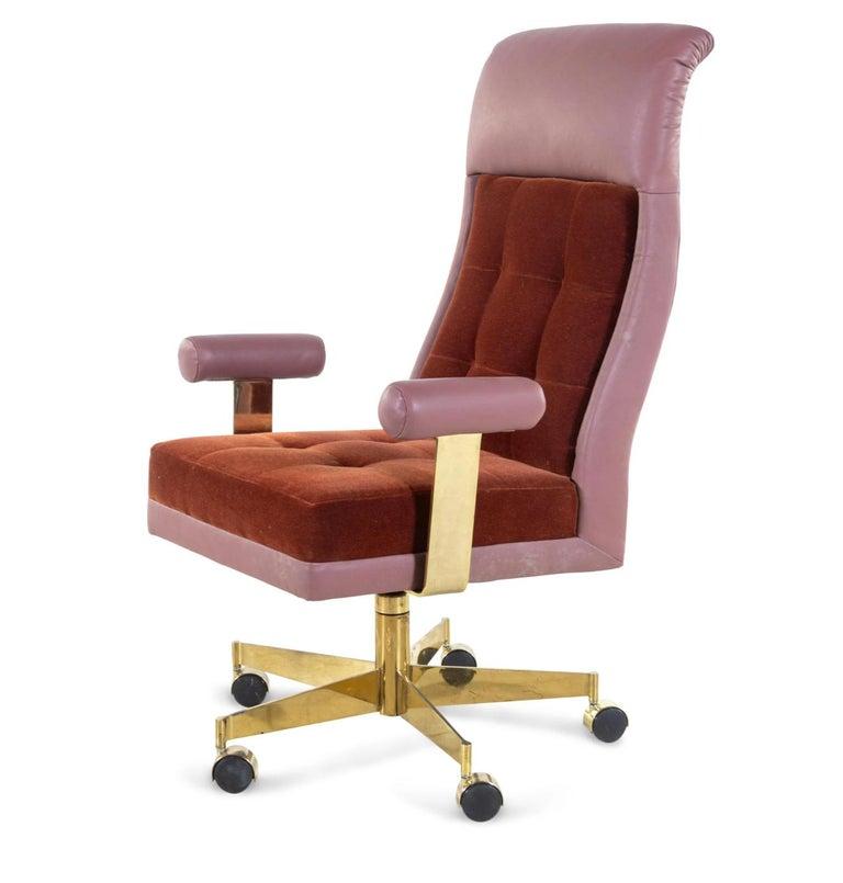 Modern Vladimir Kagan Leather and Mohair Executive Desk Chair, circa 1979, Signed  For Sale