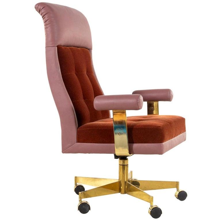 Vladimir Kagan Leather and Mohair Executive Desk Chair, circa 1979, Signed  For Sale