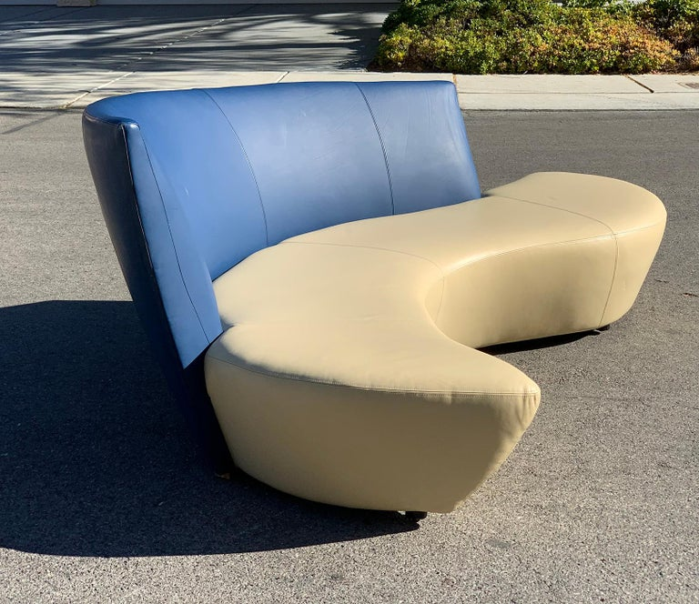 Post-Modern Vladimir Kagan Leather Tan and Navy Bilbao Sofa For Sale