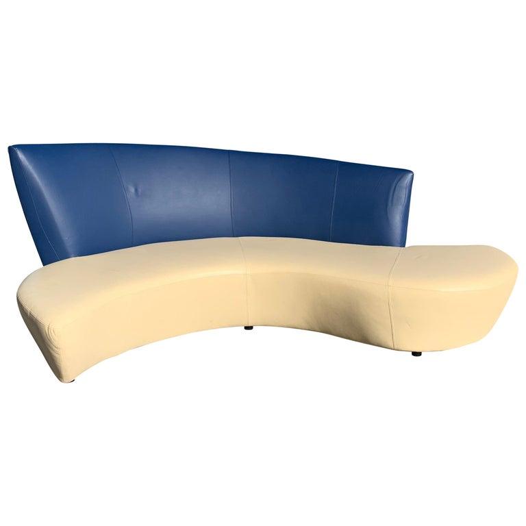 Vladimir Kagan Leather Tan and Navy Bilbao Sofa For Sale