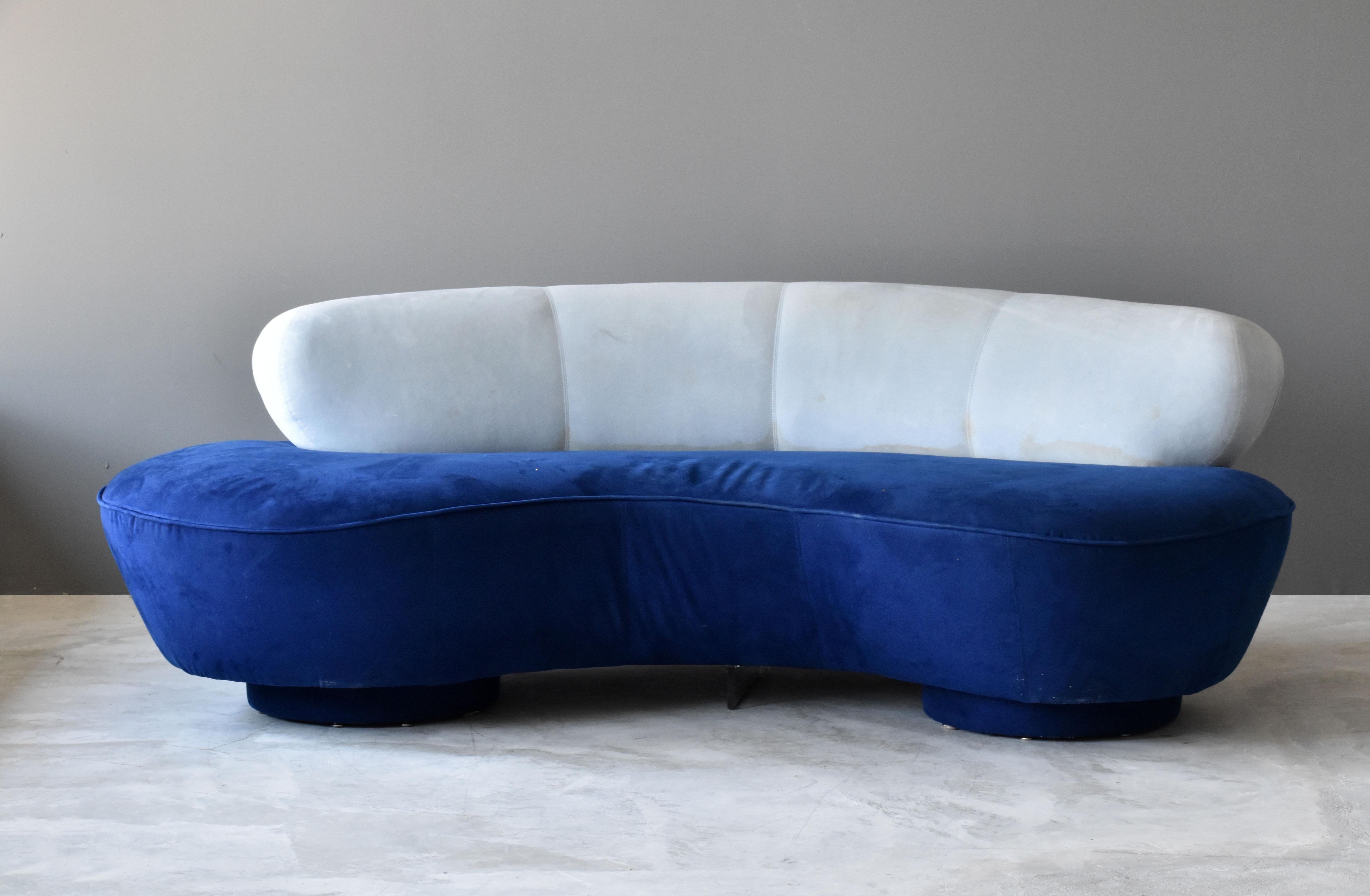 Marvelous Vladimir Kagan Long Island Sofa Blue White Suede Acrylic 1975 Directional Interior Design Ideas Clesiryabchikinfo