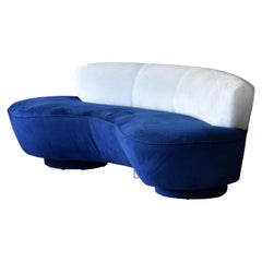 "Vladimir Kagan ""Long Island"" Sofa, Blue, White Suede, Acrylic, 1975, Directional"