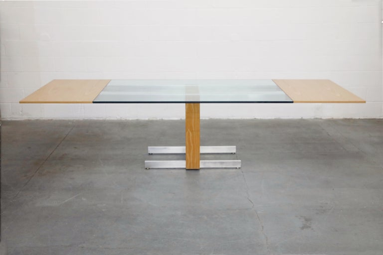 Mid-Century Modern Vladimir Kagan Model 6705 Glass-Top Extension Dining Table, 1967, Signed For Sale