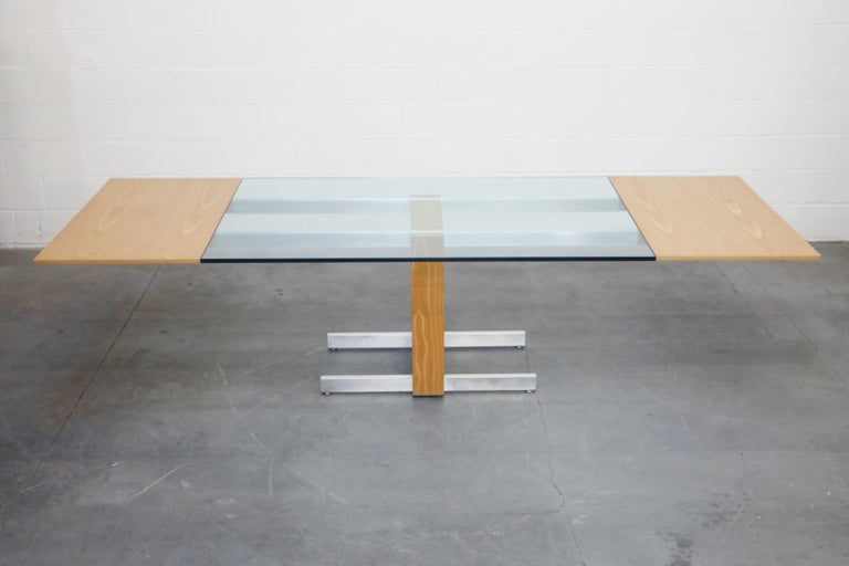 American Vladimir Kagan Model 6705 Glass-Top Extension Dining Table, 1967, Signed For Sale