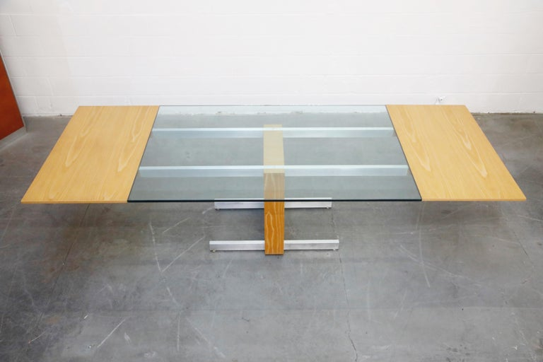 Brushed Vladimir Kagan Model 6705 Glass-Top Extension Dining Table, 1967, Signed For Sale
