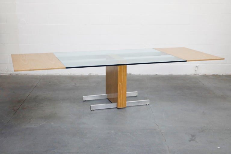 Vladimir Kagan Model 6705 Glass-Top Extension Dining Table, 1967, Signed In Good Condition For Sale In Los Angeles, CA