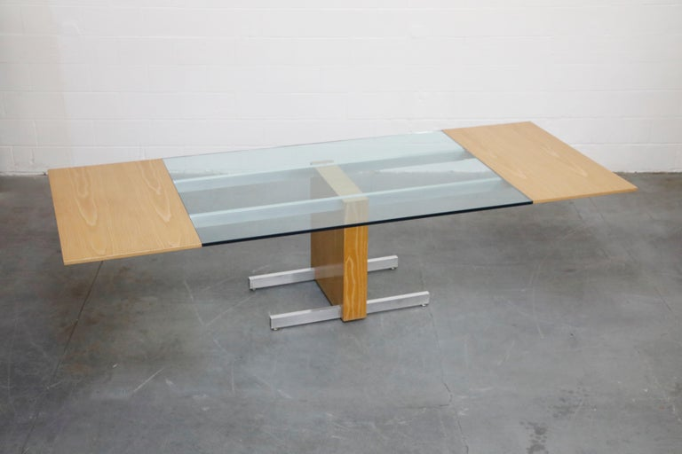 Late 20th Century Vladimir Kagan Model 6705 Glass-Top Extension Dining Table, 1967, Signed For Sale