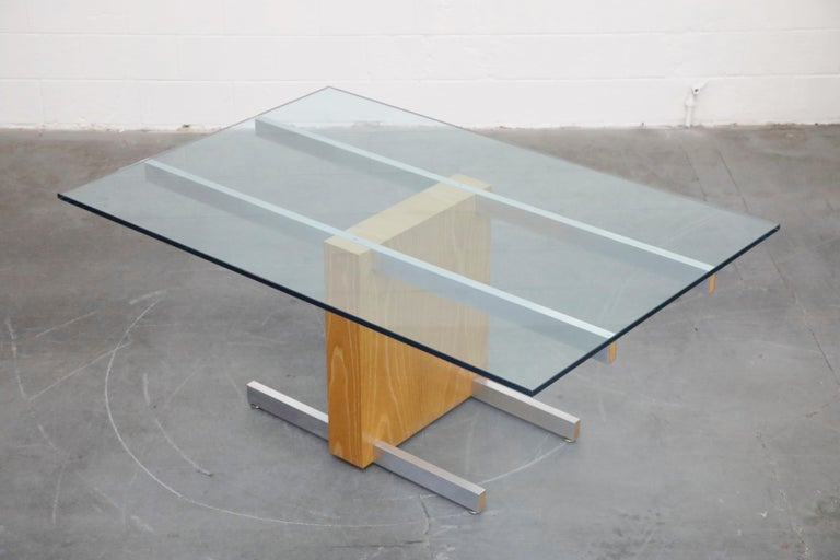 Vladimir Kagan Model 6705 Glass-Top Extension Dining Table, 1967, Signed For Sale 1