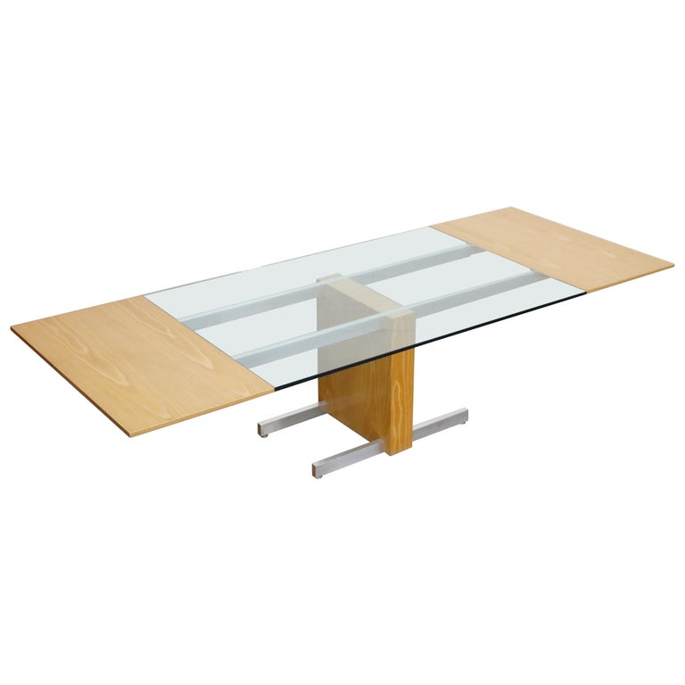Vladimir Kagan Model 6705 Glass-Top Extension Dining Table, 1967, Signed For Sale