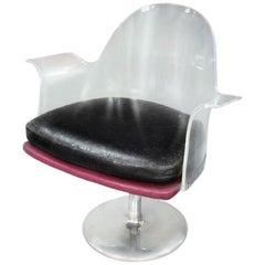 Modern Minimal Lucite Swivel Armchair, Steel Tulip Base, c 1970