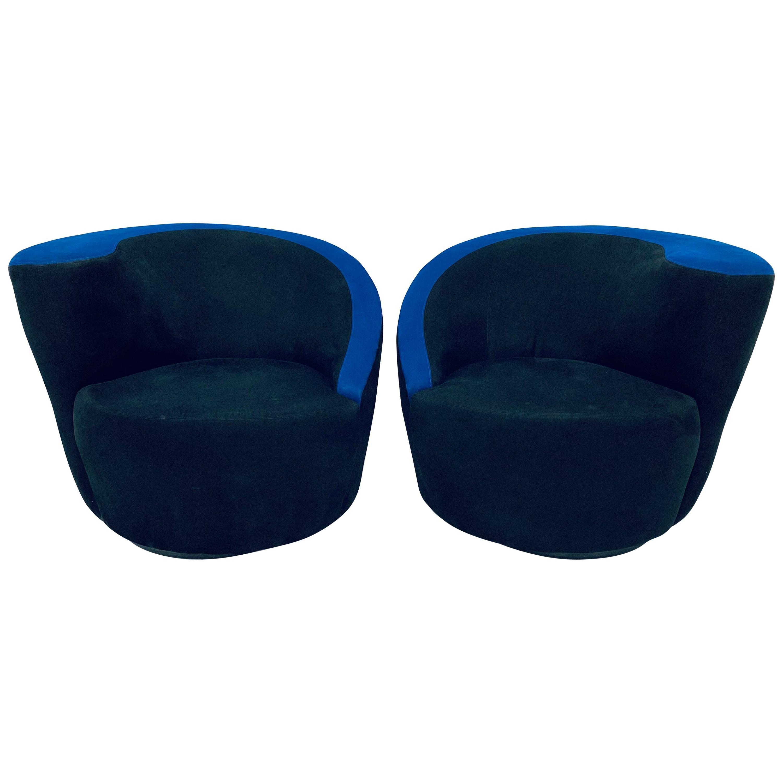 "Vladimir Kagan ""Nautilus"" Black and Blue Ultra Suede Swivel Club Chairs, a Pair"