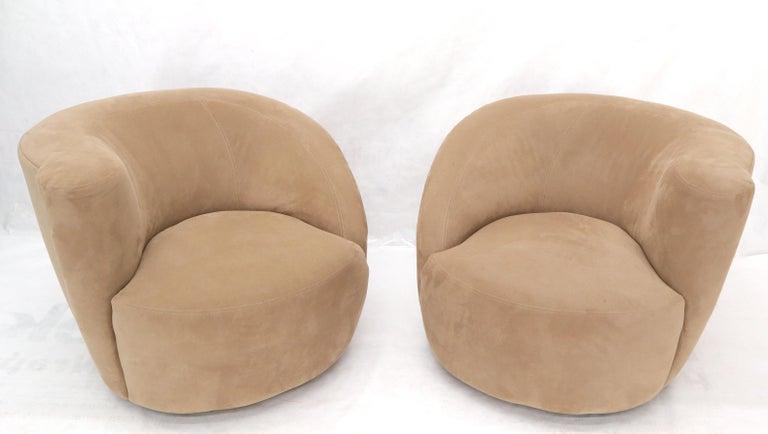 Pair of vintage camel upholstery nautilus chairs by Vladimir Kagan.