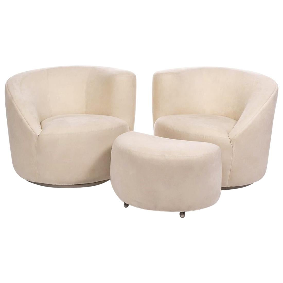 "Vladimir Kagan Nautilus ""Corkscrew"" Swivel Club Chairs and Ottoman"
