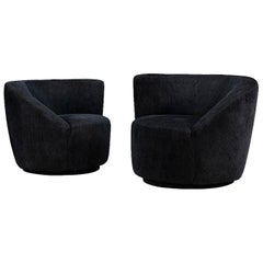 "Vladimir Kagan ""Nautilus"" Swivel Club Chairs for Directional"