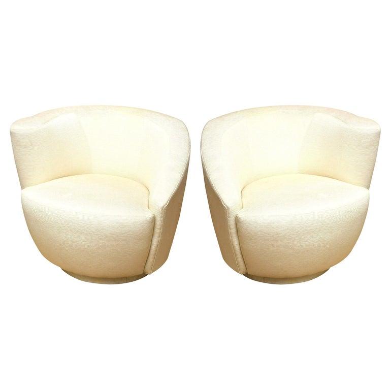 "Vladimir Kagan ""Nautilus"" Swivel Lounge Chairs Vintage Pair of For Sale"