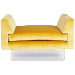 Floating Bench, Lucite and Yellow Silk Velvet