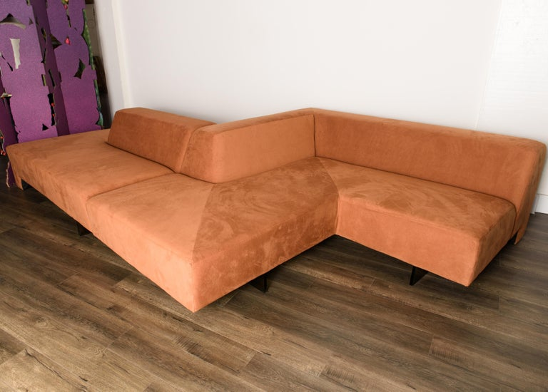 American Vladimir Kagan 'Omnibus' Sectional Sofa with Lucite Legs, 1970s For Sale