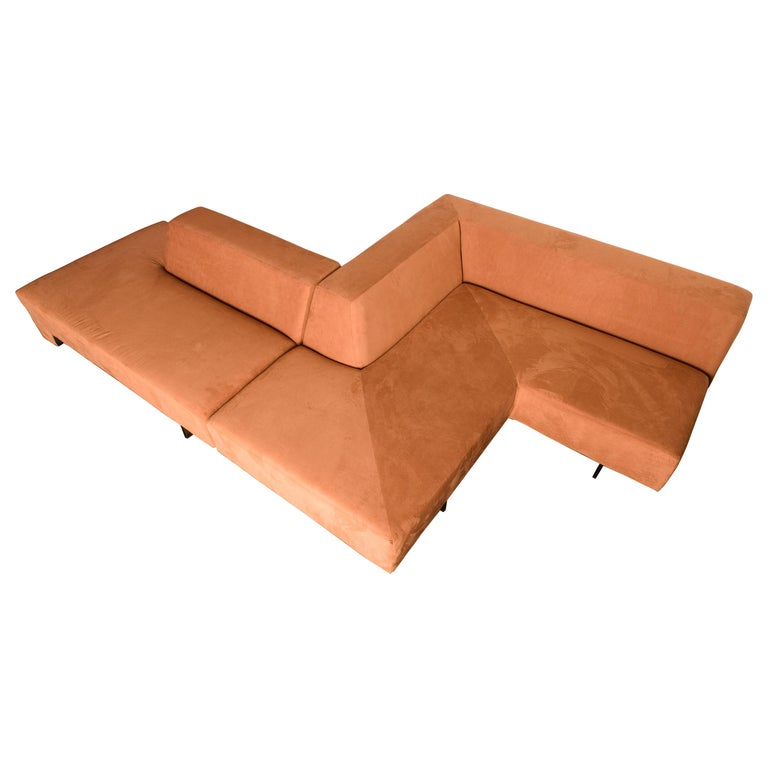 Vladimir Kagan 'Omnibus' Sectional Sofa with Lucite Legs, 1970s For Sale