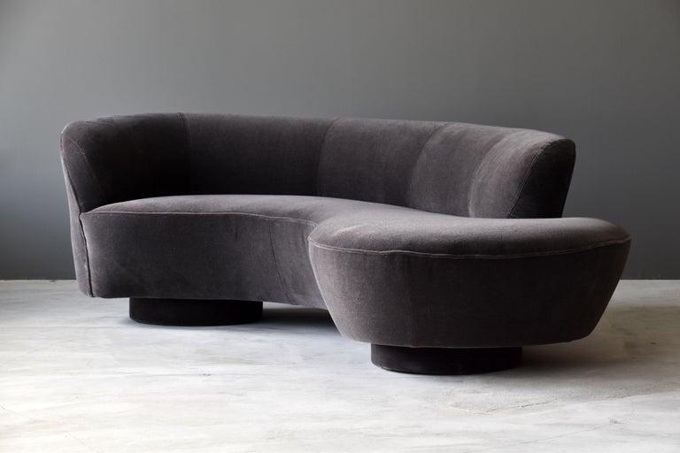 Vladimir Kagan Organic Modern Sofa Grey Velvet Lucite