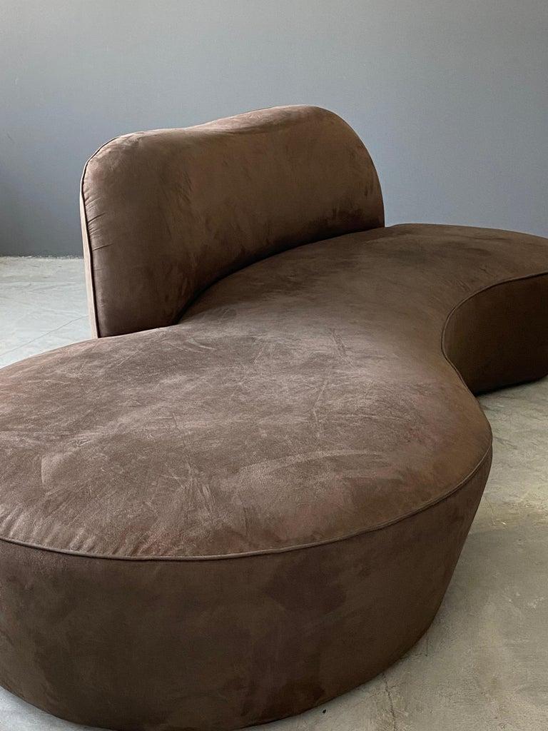 Mid-Century Modern Vladimir Kagan, Organic Sofa, Original Brown Velvet, circa 1999 For Sale