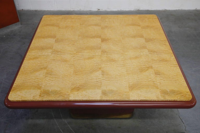 Vladimir Kagan Quilted Maple Large Dining or Conference Room Table, Signed For Sale 7