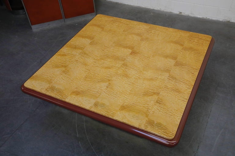 Vladimir Kagan Quilted Maple Large Dining or Conference Room Table, Signed For Sale 8
