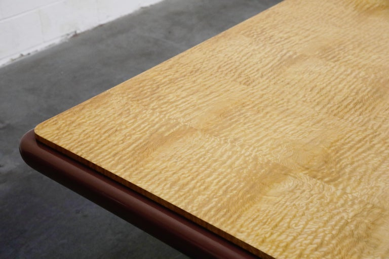 Vladimir Kagan Quilted Maple Large Dining or Conference Room Table, Signed For Sale 10