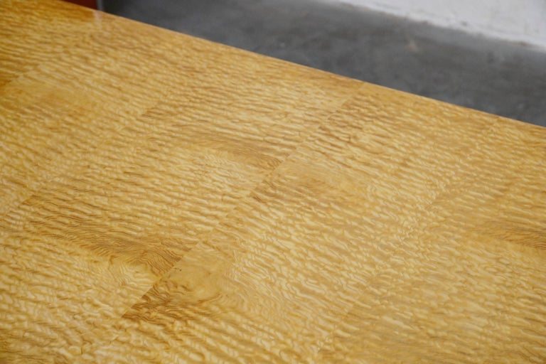 Vladimir Kagan Quilted Maple Large Dining or Conference Room Table, Signed For Sale 11