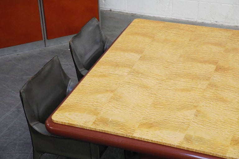 American Vladimir Kagan Quilted Maple Large Dining or Conference Room Table, Signed For Sale