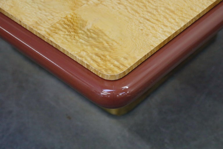 Lacquered Vladimir Kagan Quilted Maple Large Dining or Conference Room Table, Signed For Sale