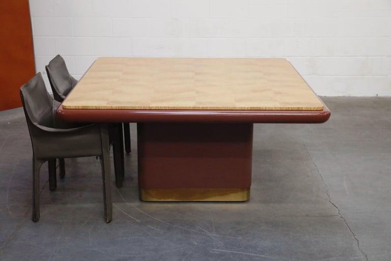 Late 20th Century Vladimir Kagan Quilted Maple Large Dining or Conference Room Table, Signed For Sale