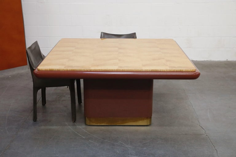 Brass Vladimir Kagan Quilted Maple Large Dining or Conference Room Table, Signed For Sale
