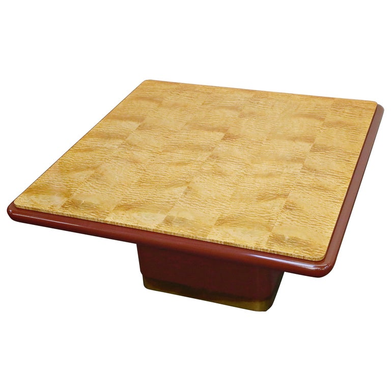Vladimir Kagan Quilted Maple Large Dining or Conference Room Table, Signed For Sale