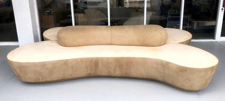 Ultrasuede Vladimir Kagan Rare Double L Facing Sofa by Directional For Sale