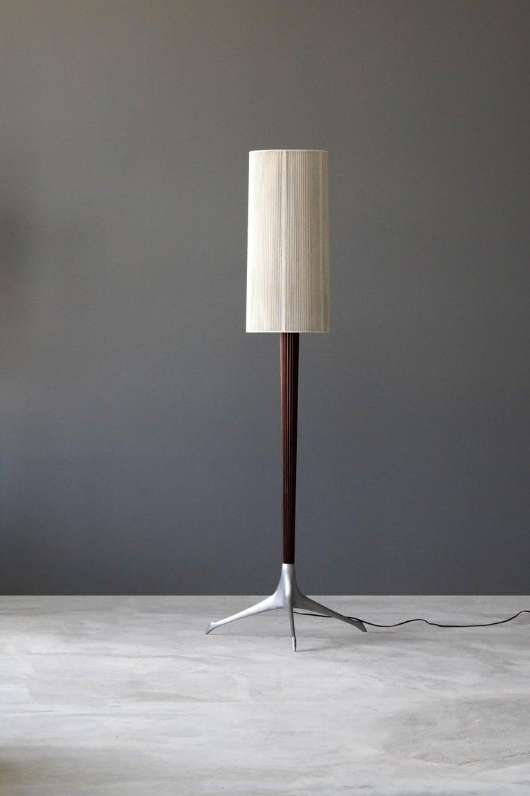 Mid-Century Modern Vladimir Kagan, Rare Floor Lamps, Aluminium, Mahogany, Nylon, Kagan-Dreyfus 1958 For Sale