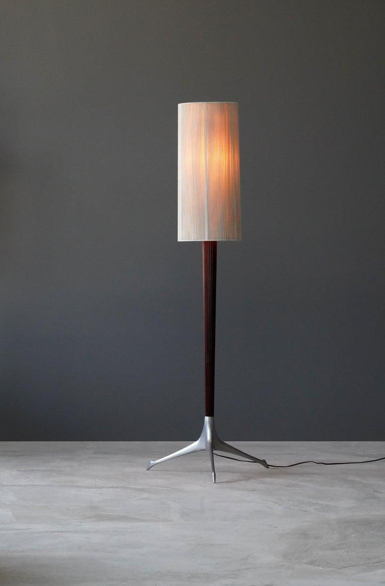 American Vladimir Kagan, Rare Floor Lamps, Aluminium, Mahogany, Nylon, Kagan-Dreyfus 1958 For Sale
