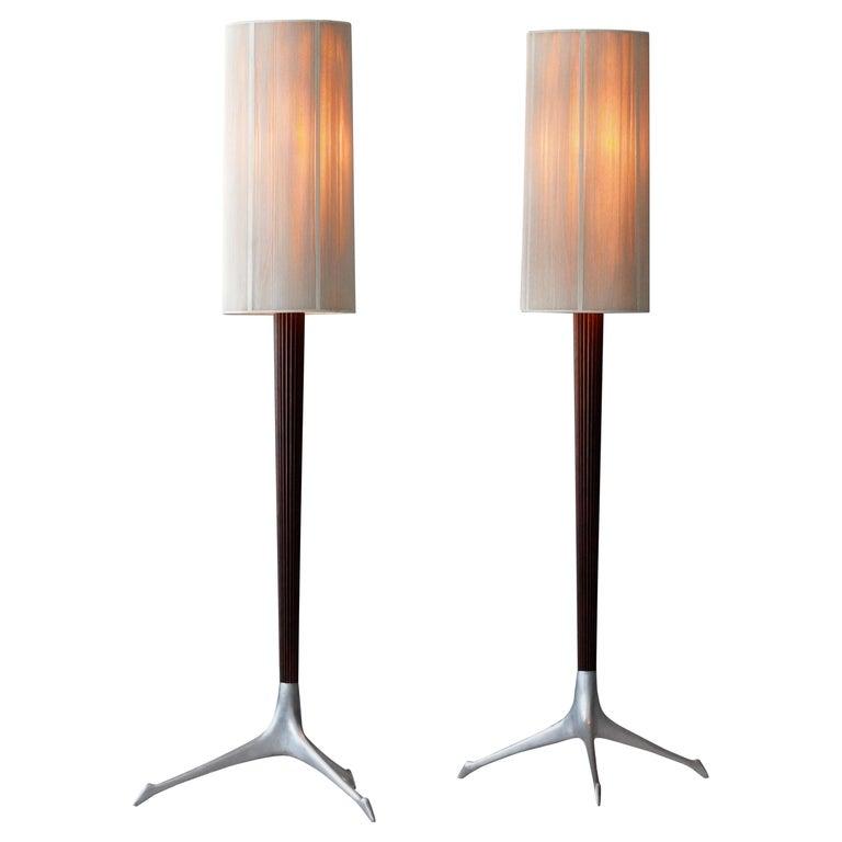 Vladimir Kagan, Rare Floor Lamps, Aluminium, Mahogany, Nylon, Kagan-Dreyfus 1958 For Sale
