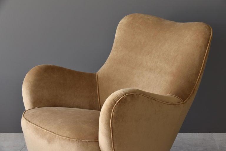 Vladimir Kagan Rare High Back Barrel Lounge Chair Velvet