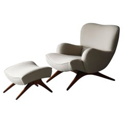 Vladimir Kagan, Rare Lounge Chair, Ash, Fabric, Kagan-Dreyfuss, Inc, c. 1950