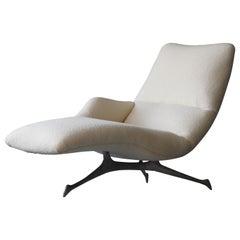 Vladimir Kagan, Rare Organic Chaise Lounge, Cast Aluminum, White Bouclé, 1958