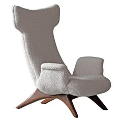 Vladimir Kagan, Rare Organic Wingback Lounge Chair, Walnut, Bouclé, America