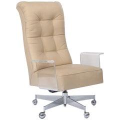 Vladimir Kagan Sculpted Lucite Leather & Chrome Executive Desk Chair, circa 1970