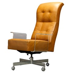 Vladimir Kagan Sculpted Lucite Leather & Chrome Executive Desk Chair, circa 1970