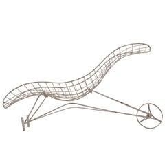 Vladimir Kagan Sculptural 'Capricorn' Chaise Longue in Metal