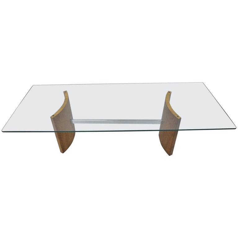 Walnut And Chrome Coffee Table: Vladimir Kagan Selig Danish Modern Propeller Coffee Table