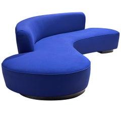 Vladimir Kagan, 'Serpentine' Sofa, Blue Fabric and Wood, Usa, Design, 1950s
