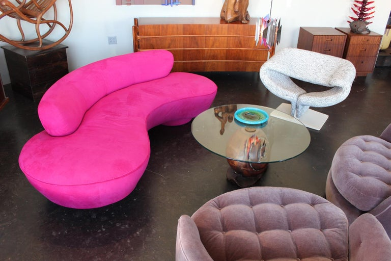 Vladimir Kagan serpentine sofa for Directional. Upholstered in it's original Fuchsia ultra-suede.