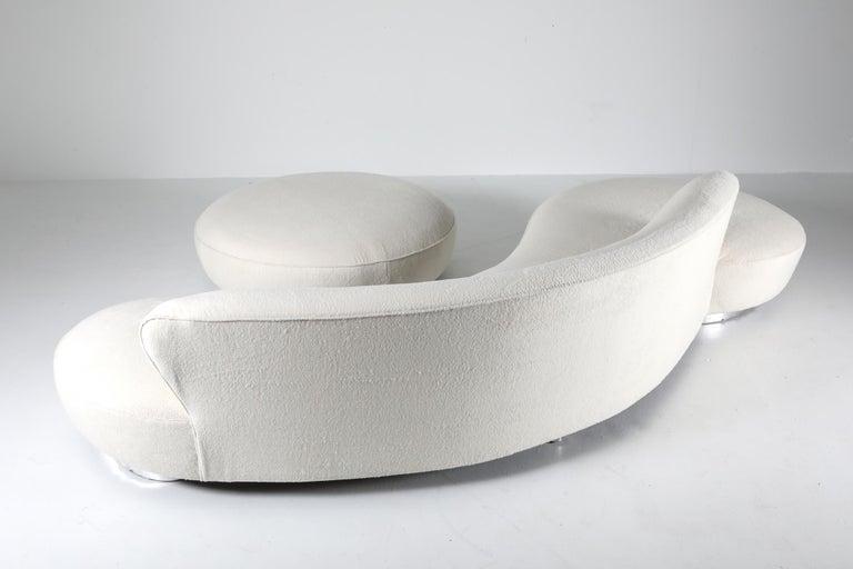 Organic Modern Vladimir Kagan Serpentine Sofa with Ottoman in Pierre Frey Lambswool Velvet