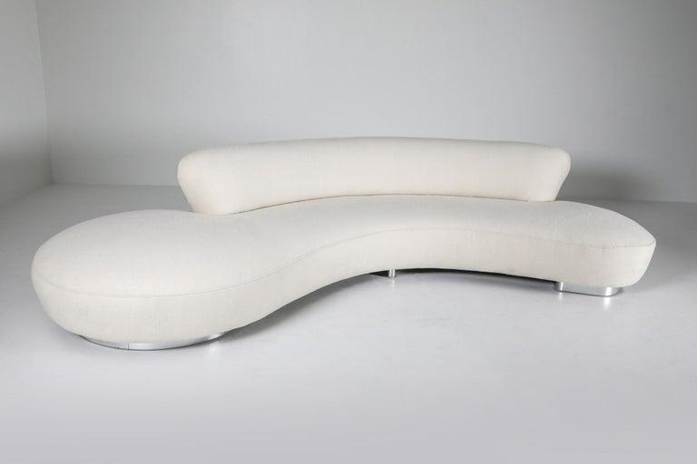 Aluminum Vladimir Kagan Serpentine Sofa with Ottoman in Pierre Frey Lambswool Velvet
